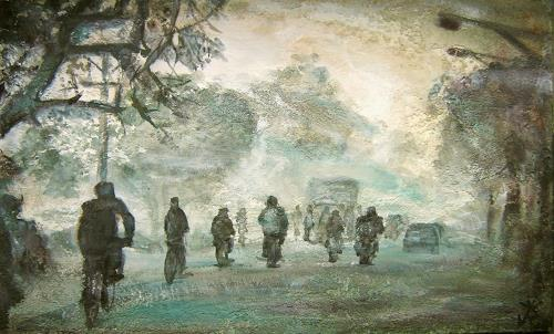 Renée König, Indien am Morgen, People: Group, Traffic: Bicycle, Contemporary Art, Abstract Expressionism
