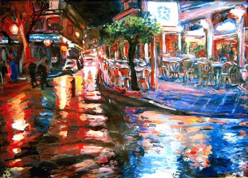Renée König, Nerja im Regen, Market, Miscellaneous Romantic motifs, Neo-Impressionism, Expressionism