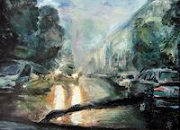 Renee-Koenig-Traffic-Car-Interiors-Cities-Modern-Age-Impressionism-Neo-Impressionism