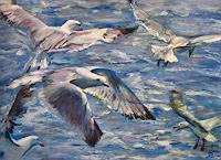 Renee-Koenig-Landscapes-Sea-Ocean-Animals-Water-Modern-Age-Impressionism-Neo-Impressionism