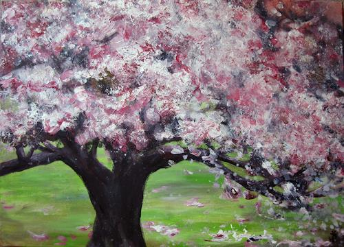 Renée König, Sehnsucht nach Frühling, Plants: Trees, Times: Spring, Neo-Impressionism, Expressionism