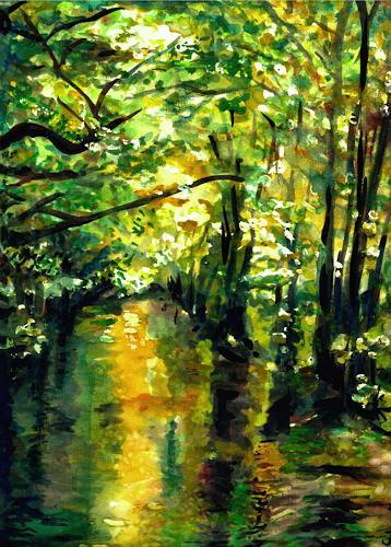 Renée König, Frühlingsluft im Spreewald, Nature: Water, Landscapes: Spring, Neo-Impressionism, Expressionism
