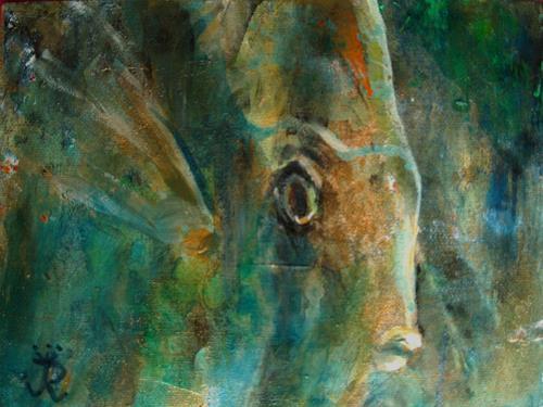 Renée König, Sieh mir in die Augen!, Decorative Art, Animals: Water, Neo-Impressionism, Expressionism