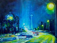 Renee-Koenig-Traffic-Car-Buildings-Churches-Modern-Age-Expressionism-Neo-Expressionism
