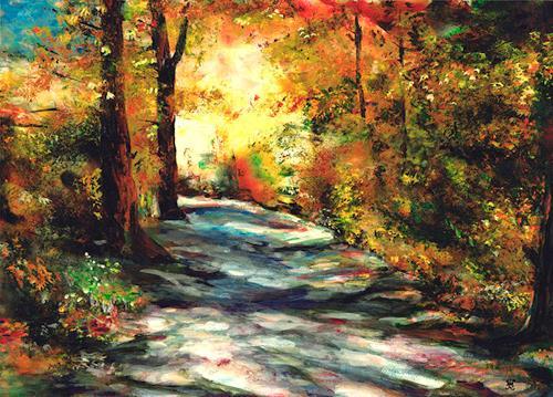 Renée König, Herbstweg, Emotions: Joy, Landscapes: Autumn, Post-Impressionism, Expressionism