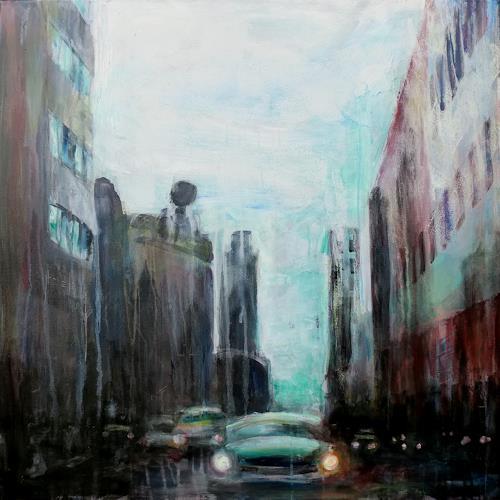 Renée König, Berlin - Leipziger Str., Architecture, Traffic: Car, Modern Age, Abstract Expressionism