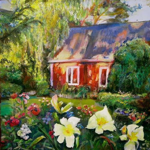 Renée König, Sommergarten im Abendlicht, Buildings: Houses, Plants: Flowers, Neo-Impressionism