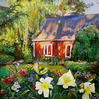 Renee-Koenig-Buildings-Houses-Plants-Flowers-Modern-Age-Impressionism-Neo-Impressionism