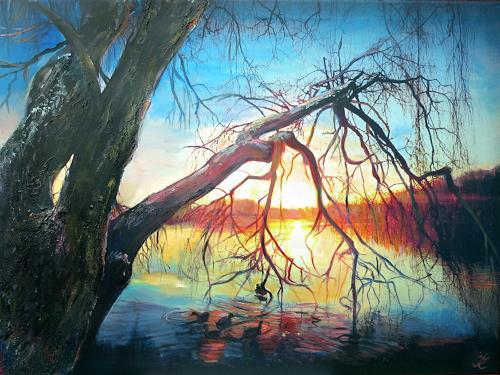 Renée König, Bevor die Sonne untergeht, Landscapes, Plants: Trees, Photo-Realism, Expressionism