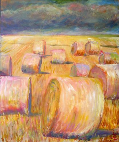 Renée König, Strohballen 1, Landscapes: Summer, Movement, Neo-Impressionism