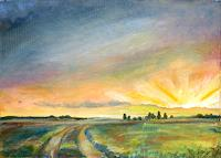 Renee-Koenig-Landscapes-Plains-Romantic-motifs-Sunset-Modern-Age-Impressionism-Post-Impressionism