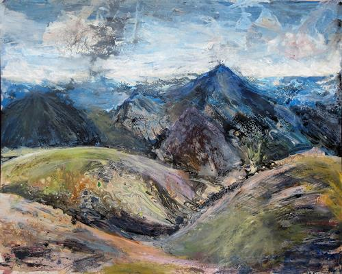 Renée König, Isländische Landschaft, Landscapes: Mountains, Nature: Earth, Neo-Expressionism, Abstract Expressionism