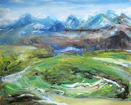 Renée König, Isländische Landschaft 2, Landscapes: Mountains, Nature: Earth, Contemporary Art