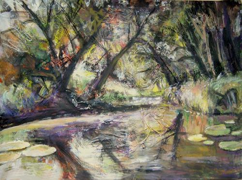 Renée König, Am Weiher, Landscapes: Summer, Nature: Water, Expressive Realism, Expressionism