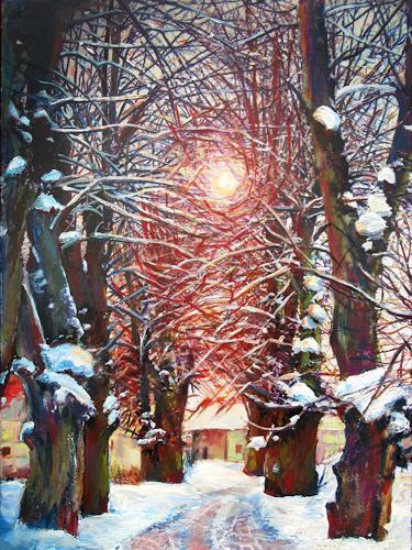 Renée König, Wintersonne, Landscapes: Winter, Plants: Trees, Expressive Realism, Expressionism