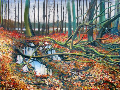 Renée König, Ruhe nach dem Sturm, Landscapes: Plains, Nature: Wood, Post-Impressionism, Expressionism