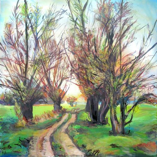 Renée König, Weiden in der Uckermark, Landscapes: Plains, Plants: Trees, Post-Impressionism