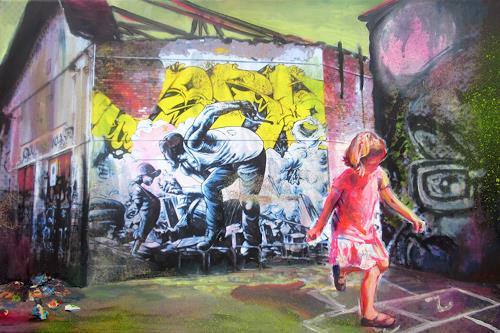 Renée König, Hopse spielen im RAW-Gelände, People: Children, Fantasy, Contemporary Art, Expressionism