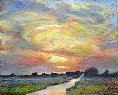 Renée König, Gülpes Wiesen, Landscapes: Plains, Romantic motifs: Sunset, Neo-Impressionism, Expressionism