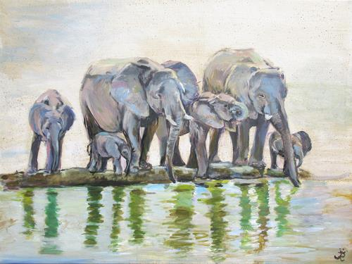Renée König, Am Wasserloch, Animals: Land, Situations, Realism