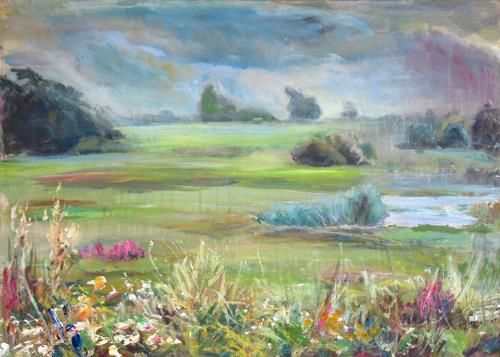 Renée König, Elbwiesen, Landscapes: Plains, Landscapes: Summer, Post-Impressionism, Expressionism