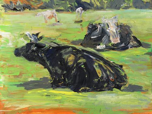 Renée König, Auf der Weide, Animals: Land, Landscapes: Summer, Expressive Realism, Expressionism