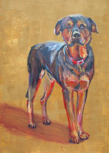 Renée König, Der Lieblingshund, Animals: Land, Emotions: Safety, Post-Impressionism, Expressionism