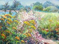 Renee-Koenig-Landscapes-Summer-Plants-Flowers-Modern-Age-Impressionism-Neo-Impressionism