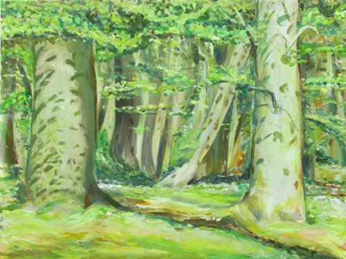 Renée König, Sommersprossen im Buchenwald, Landscapes: Spring, Nature: Wood, Post-Impressionism, Expressionism