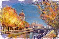 Renee-Koenig-Landscapes-Autumn-Miscellaneous-Buildings-Modern-Age-Impressionism-Post-Impressionism