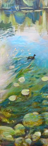 Renée König, Ein Blässhuhn, Landscapes: Plains, Animals: Water, Realism