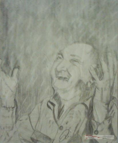 MartinusLinzer, Mann freut sich über den ersten Regen nach einer langen Dürreperiode, People: Men, Emotions: Joy, Contemporary Art