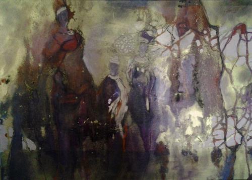 Monika Ostheimer, Auf dem Weg, Abstract art, People: Group, Contemporary Art, Abstract Expressionism