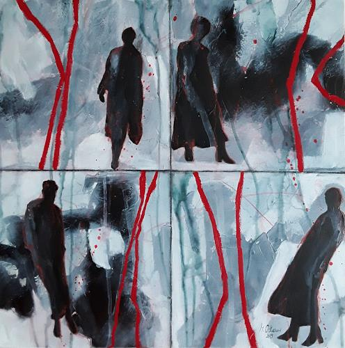 Monika Ostheimer, Auf ihrem Weg, People, Abstract art, Contemporary Art, Abstract Expressionism