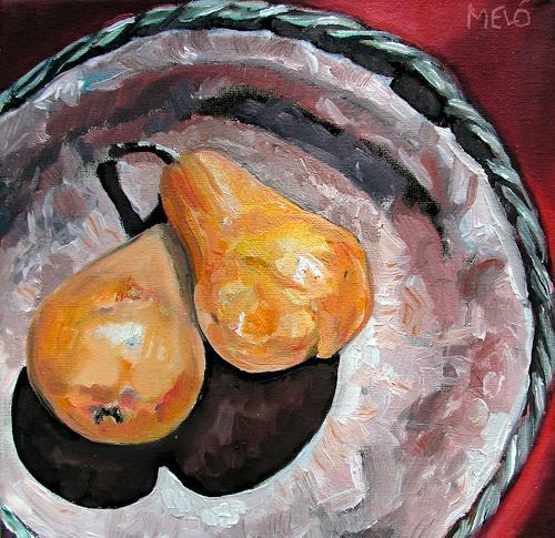 Meló, antike Schale mit Birnen, Meal, Still life, Expressive Realism