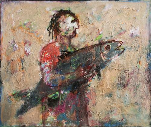 Victor Gutsu, big fish, People, Mythology, Neo-Expressionism, Abstract Expressionism