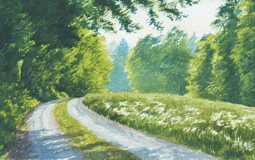 Daniel Gerhard, Heuwiese, Landscapes: Spring, Nature: Earth, Expressionism