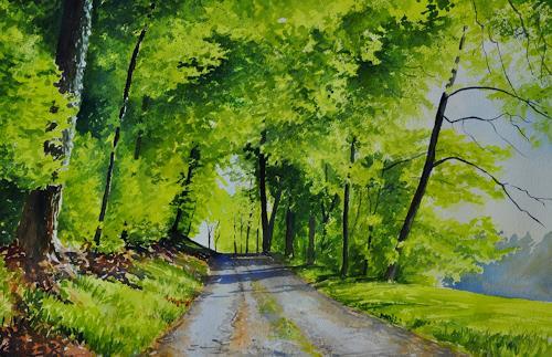 Daniel Gerhard, Maigrün, Nature: Wood, Landscapes: Spring, Expressionism