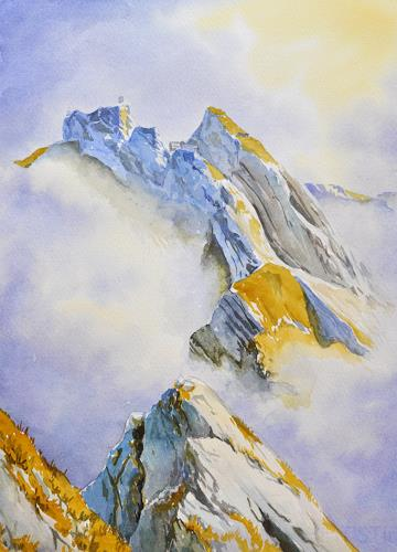 Daniel Gerhard, Pilatus, Wolkenspiel, Landscapes: Mountains, Times: Autumn, Abstract Art