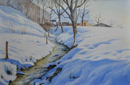 """Daniel Gerhard, Bächlein im """"Marchstein, Times: Winter, Nature: Water, Expressionism"""
