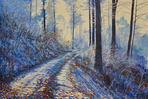Daniel Gerhard, winterlicher Waldweg, Landscapes: Winter, Nature: Wood, Expressionism