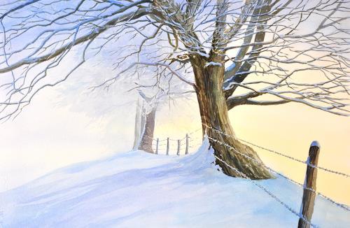 Daniel Gerhard, Der Nebel weicht..., Landscapes: Winter, Plants: Trees, Abstract Art, Expressionism