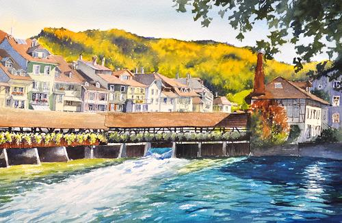 Daniel Gerhard, Thun, Herbsttag, Landscapes: Autumn, Architecture, Abstract Art, Expressionism