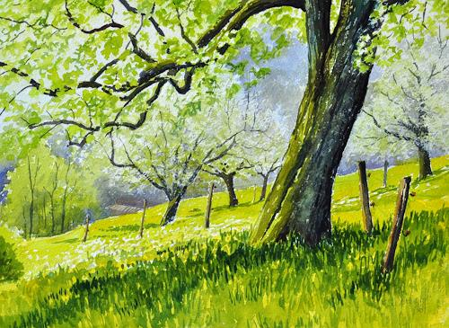 Daniel Gerhard, Beim alten Birnbaum, Landscapes: Spring, Plants: Trees, Abstract Art, Expressionism