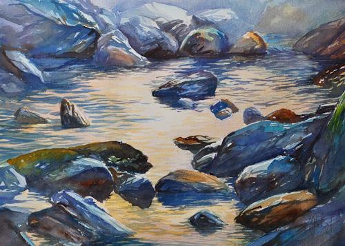 Daniel Gerhard, Im Morgenlicht, Landscapes: Mountains, Nature: Water
