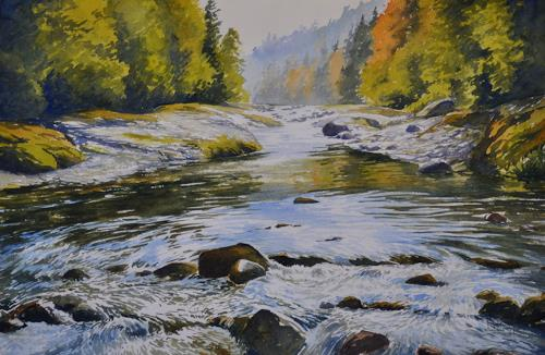 Daniel Gerhard, Herbsttag am Fluss, Landscapes: Autumn, Nature: Water, Expressionism
