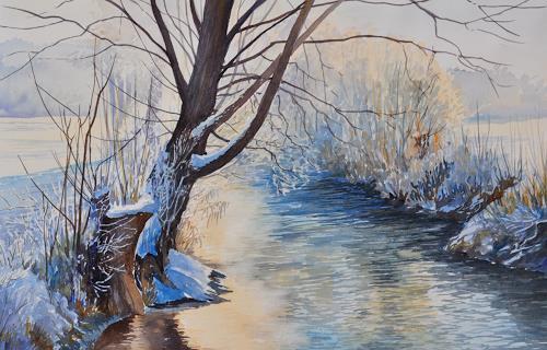 Daniel Gerhard, Im Gegenlicht, Landscapes: Winter, Nature: Water, Abstract Art, Expressionism