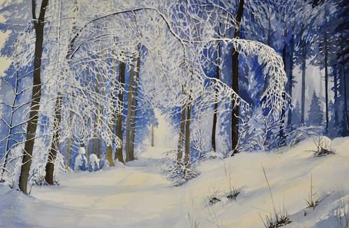 Daniel Gerhard, aus dem Tobel, Landscapes: Winter, Plants: Trees, Abstract Art