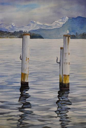 Daniel Gerhard, Gruss aus Luzern, Landscapes: Sea/Ocean, Times: Winter, Abstract Art, Expressionism