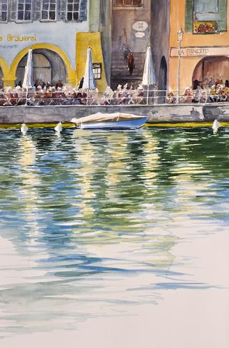 Daniel Gerhard, Drüben am Ufer, Nature: Water, Architecture, Abstract Art